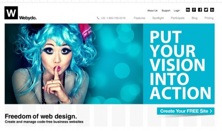screenshot of free website builder site - webydo