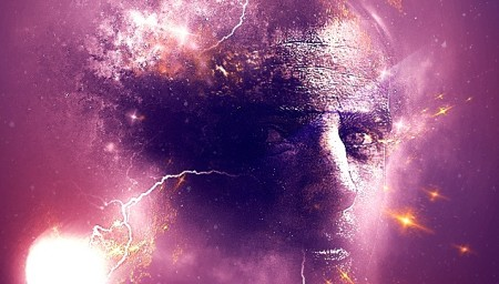 Human Face in Universe Background
