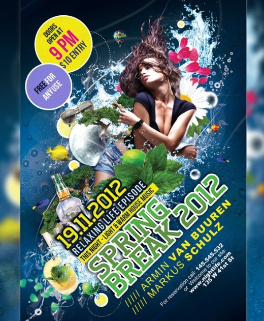 Free Party Flyer : Poster PSD template