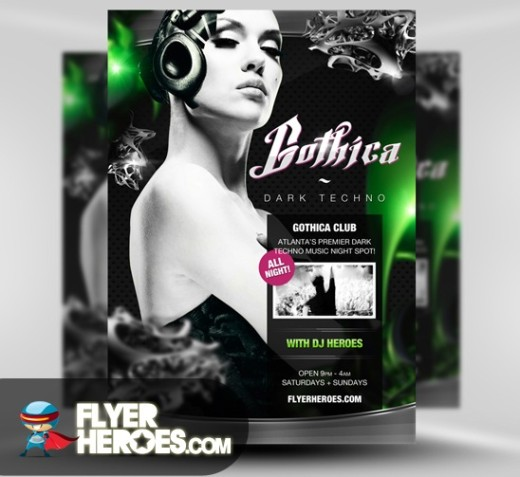 Gothica Techno Flyer Template