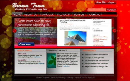 free psd website template - red color